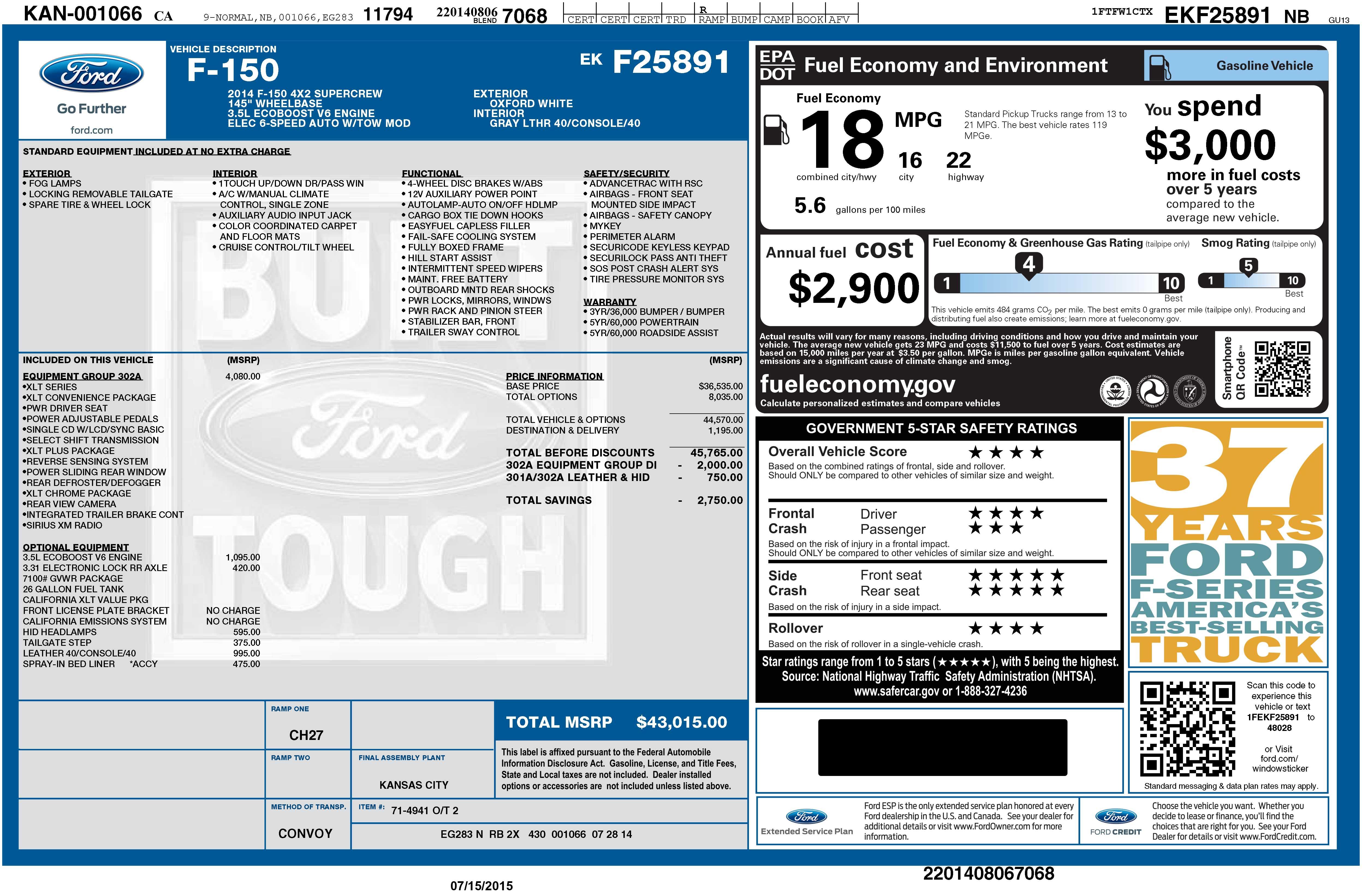 2014 F150 GVWR Door Sticker  Page 7